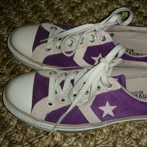 Converse Shoes - Converse Leather Suede Purple Sneakers Size 8